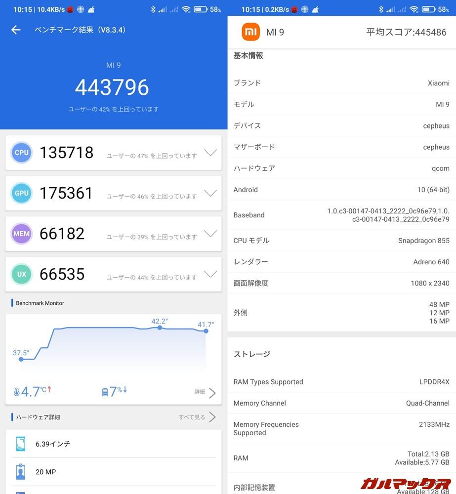 Xiaomi Mi 9/メモリ6GB(Android 10)実機AnTuTuベンチマークスコアは総合が443796点、GPU性能が175361点。