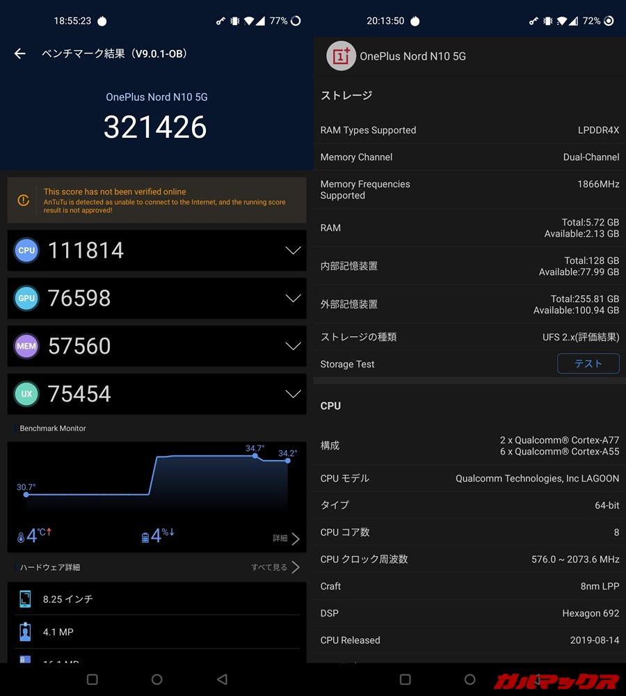 OnePlus Nord N10 5G(Android 10)実機AnTuTuベンチマークスコアは総合が321426点、GPU性能が76598点。