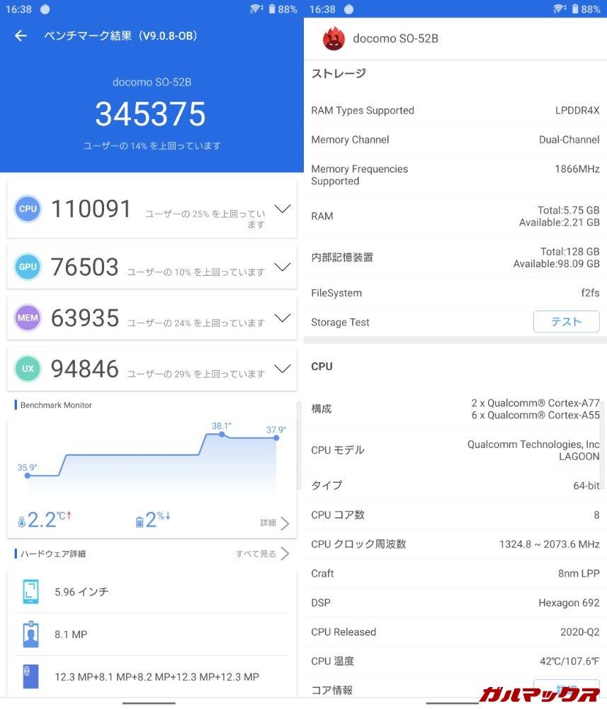 Xperia 10 III/メモリ6GB(Android 11)実機AnTuTuベンチマークスコアは総合が345375点、GPU性能が76503点。