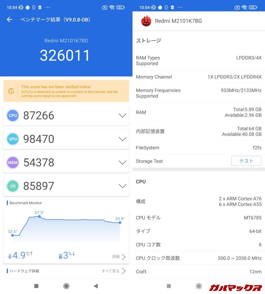 Redmi Note 10S(Android 11)実機AnTuTuベンチマークスコアは総合が326011点、GPU性能が98470点。