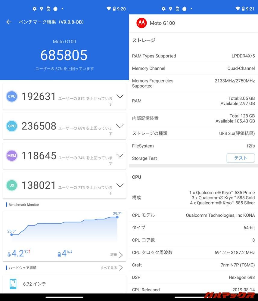 moto g100(Android 11)実機AnTuTuベンチマークスコアは総合が685805点、GPU性能が236508点。