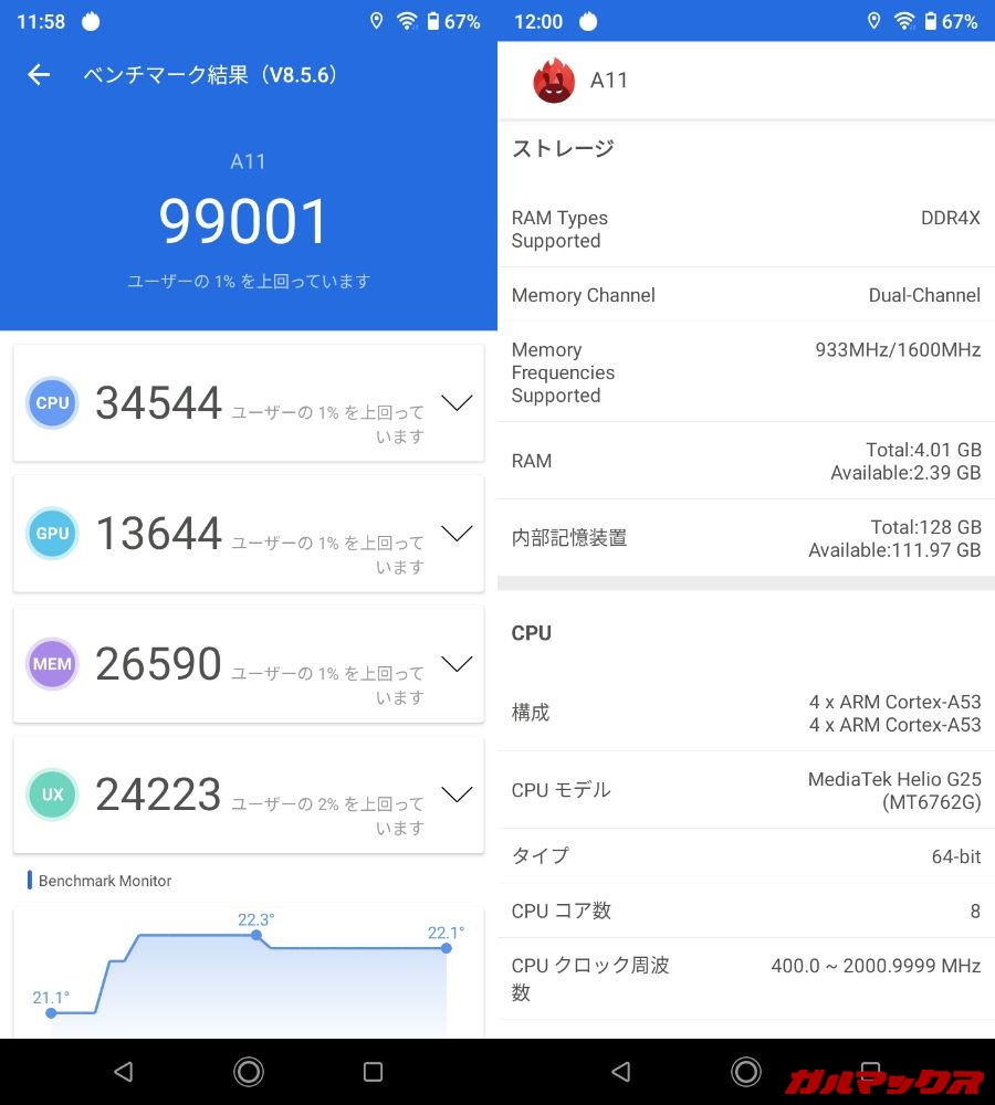 UMIDIGI A11(Android 11)実機AnTuTuベンチマークスコアは総合が99001点、GPU性能が13644点。