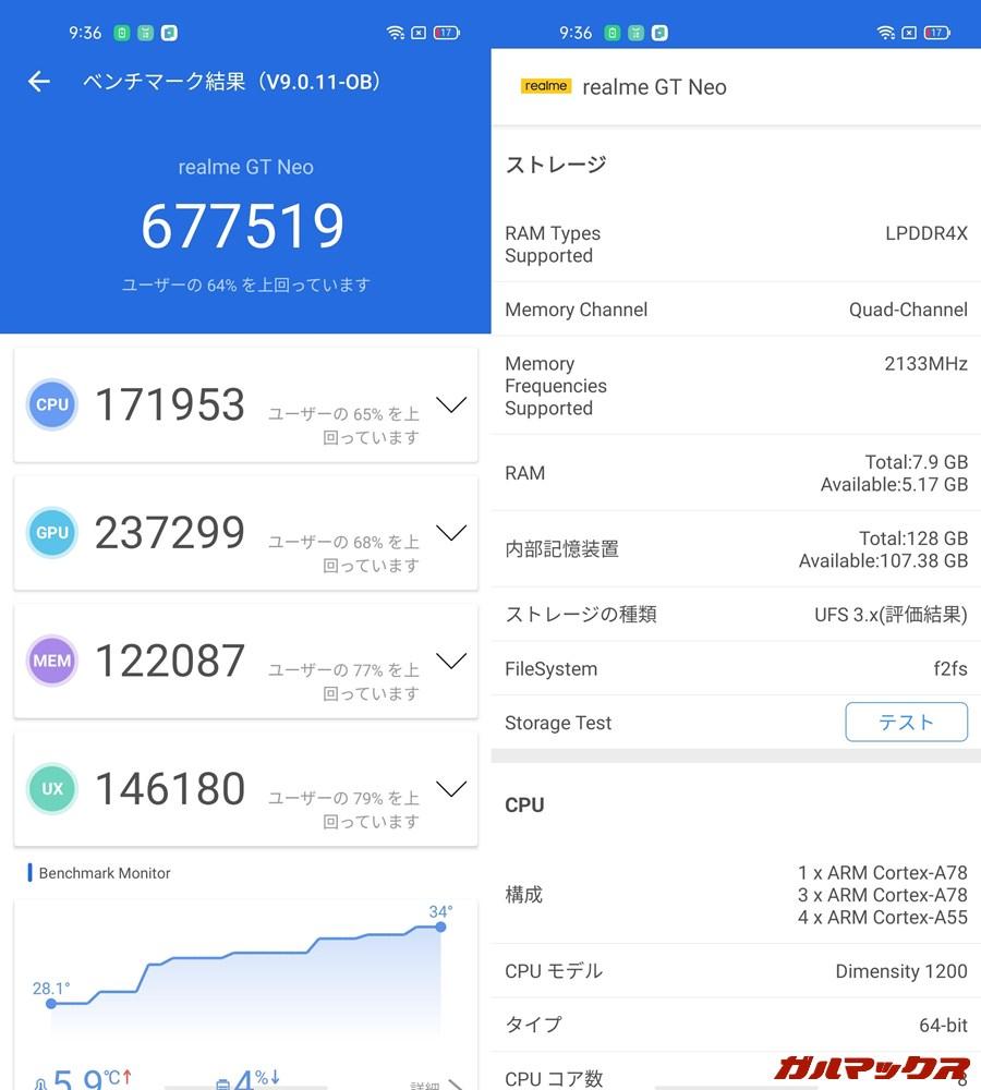 Realme GT Neo/メモリ8GB(Android 11)実機AnTuTuベンチマークスコアは総合が677519点、GPU性能が237299点。