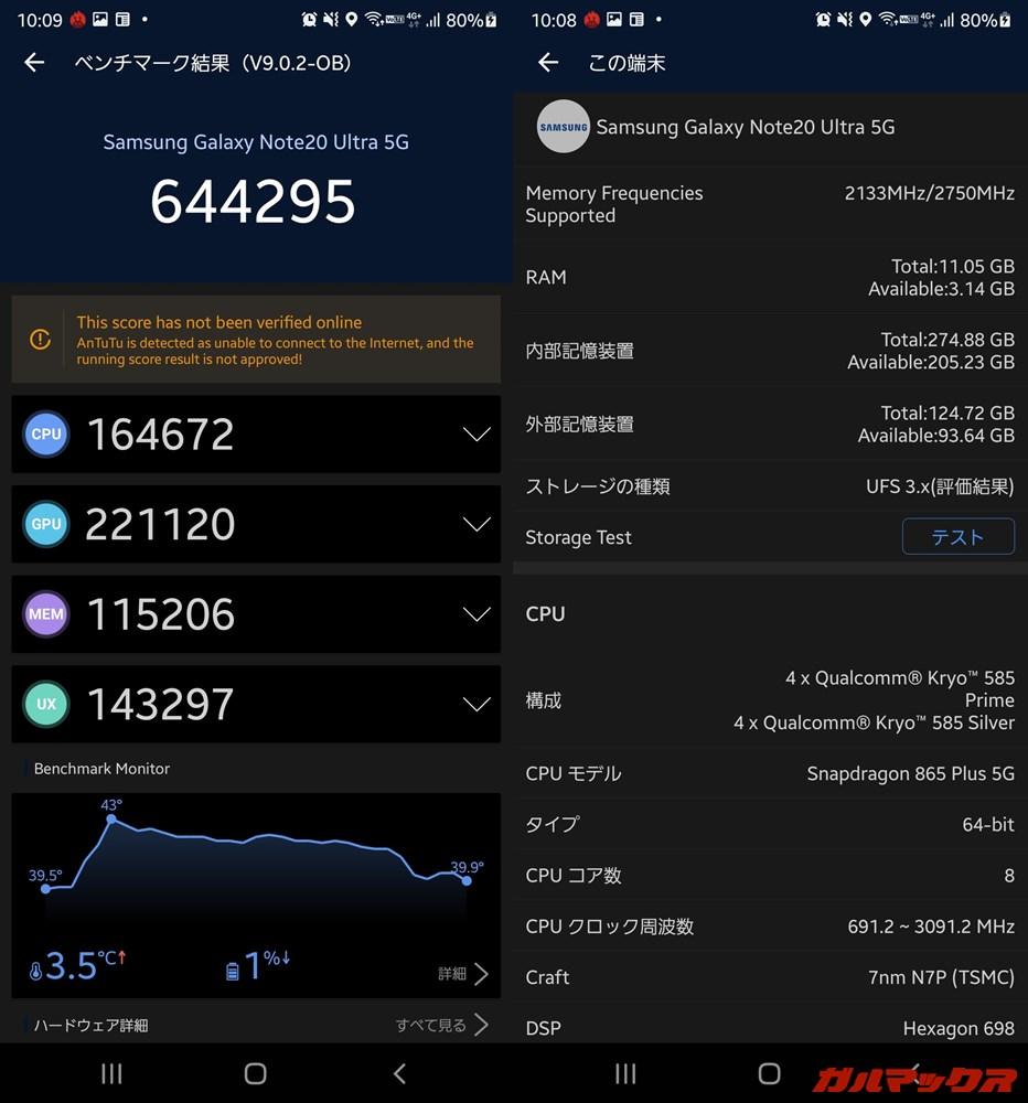 Galaxy Note 20 Ultra/メモリ12GB(Android 11)実機AnTuTuベンチマークスコアは総合が644295点、GPU性能が221120点。