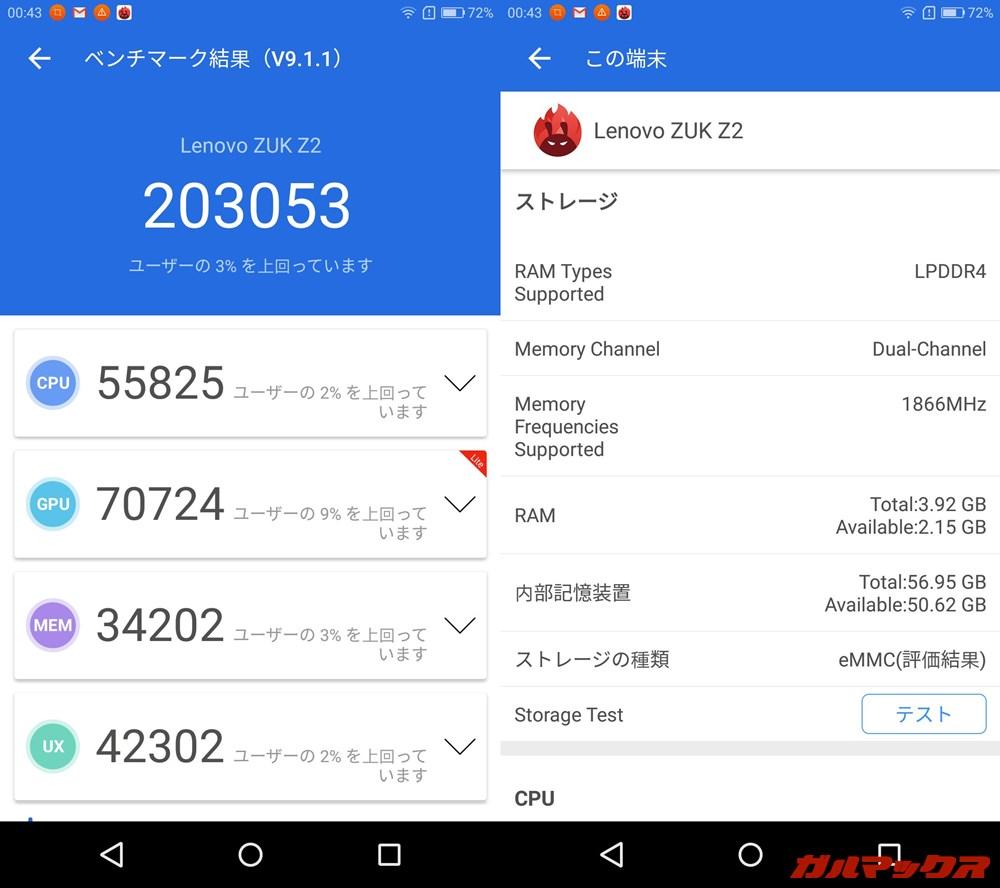 Lenovo ZUK Z2(Android 6.0.1)実機AnTuTuベンチマークスコアは総合が203053点、GPU性能が70724点。