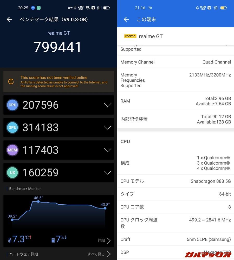 Realme GT 5G/メモリ8GB(Android 11)実機AnTuTuベンチマークスコアは総合が799441点、GPU性能が314183点。