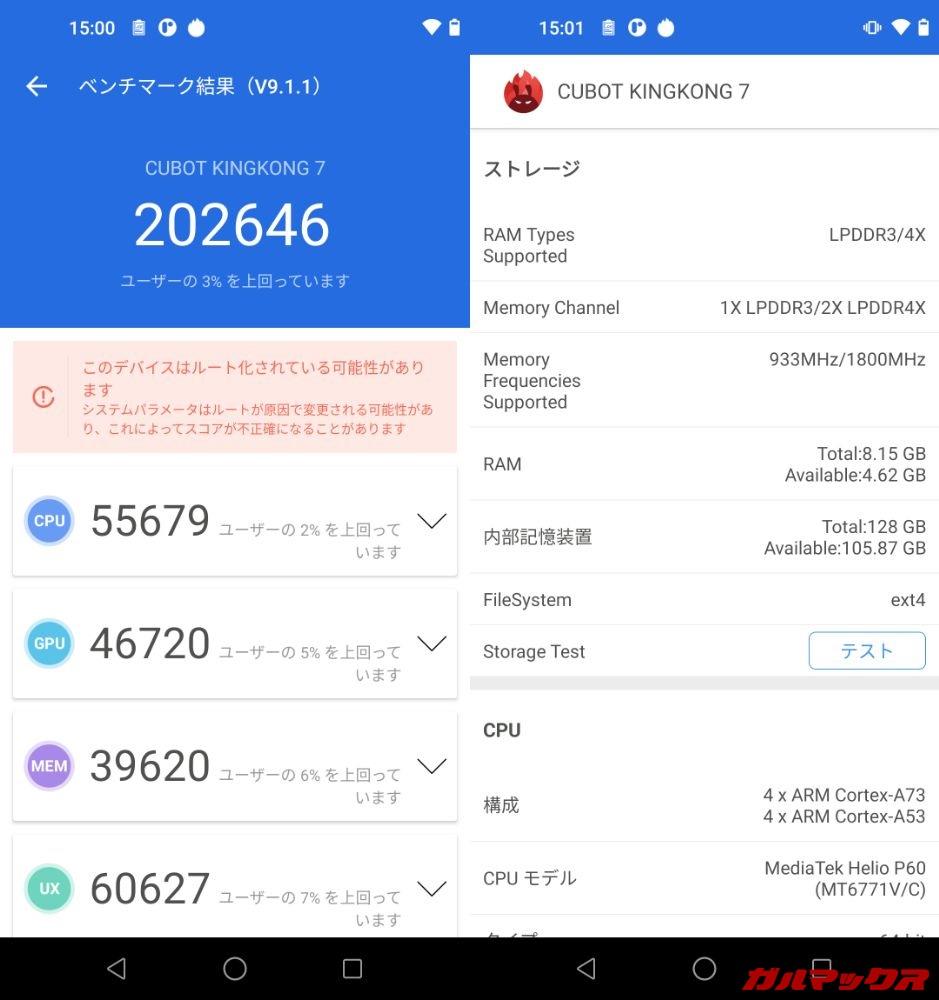CUBOT KingKong 7(Android 11)実機AnTuTuベンチマークスコアは総合が202646点、GPU性能が46720点。