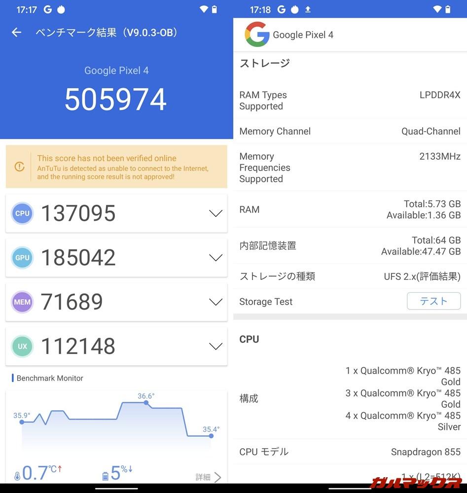 Google Pixel 4(Android 11)実機AnTuTuベンチマークスコアは総合が505974点、GPU性能が185042点。