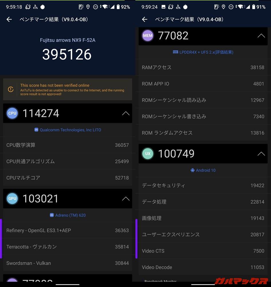 arrows NX9(F-52A)(Android 10)実機AnTuTuベンチマークスコアは総合が395126点、GPU性能が103021点。