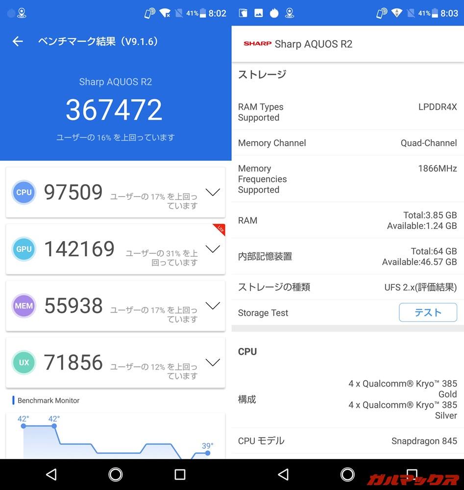 AQUOS R2(Android 8.0.0)実機AnTuTuベンチマークスコアは総合が367472点、GPU性能が142169点。